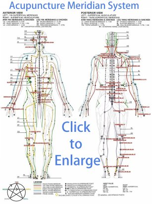 The Human Acupuncture Meridian System (Click to Enlarge)