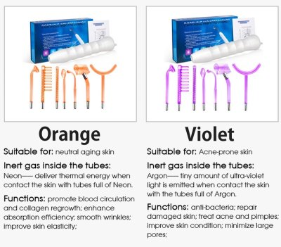 Violet Ray Tube Color Gas Options